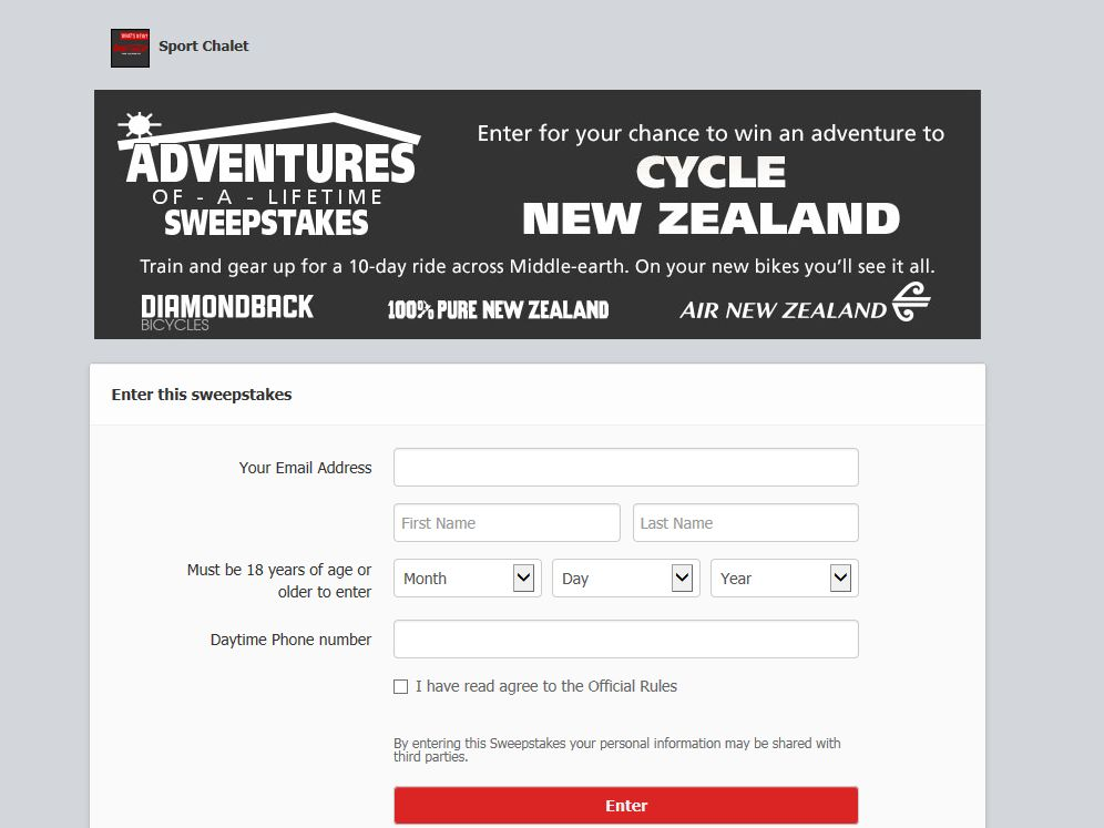 Adventures of a Lifetime 12-Day Biking Experience Sweepstakes