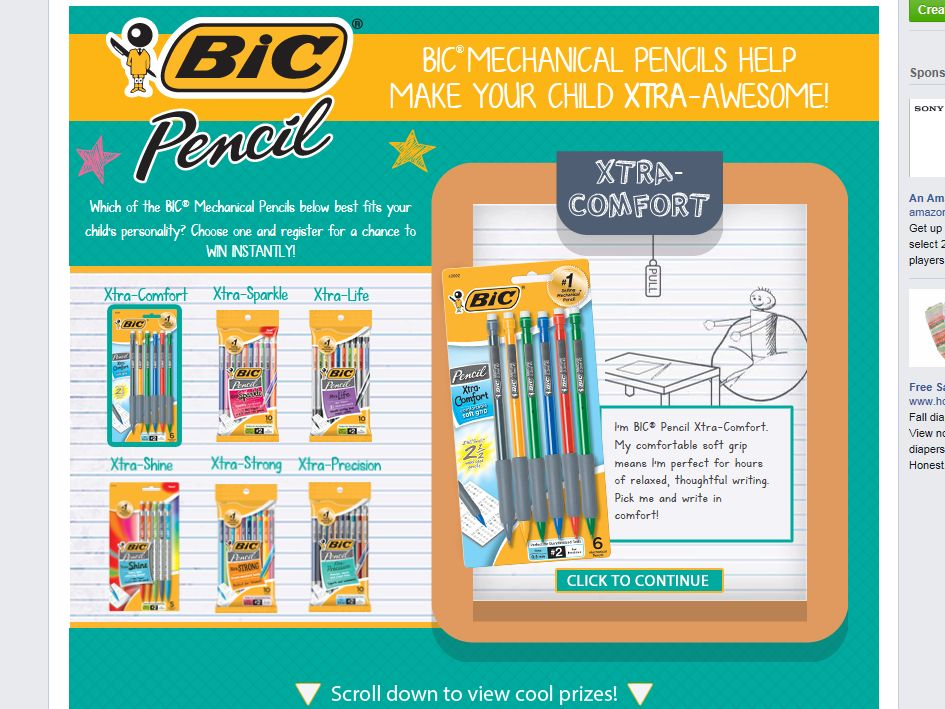 BIC Pencil Instant Win Sweepstakes