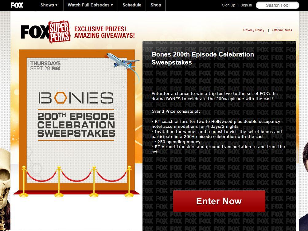BONES 200th Episode Celebration Set Visit Sweepstakes