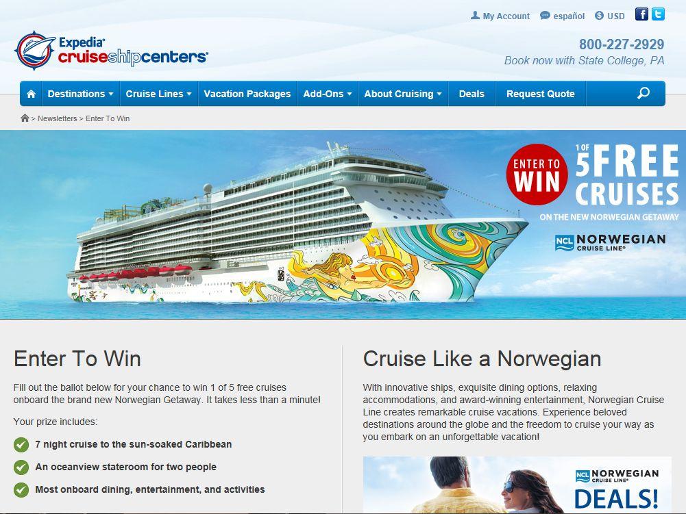 Expedia CruiseShipCenters Win 1 of 5 Cruises Contest