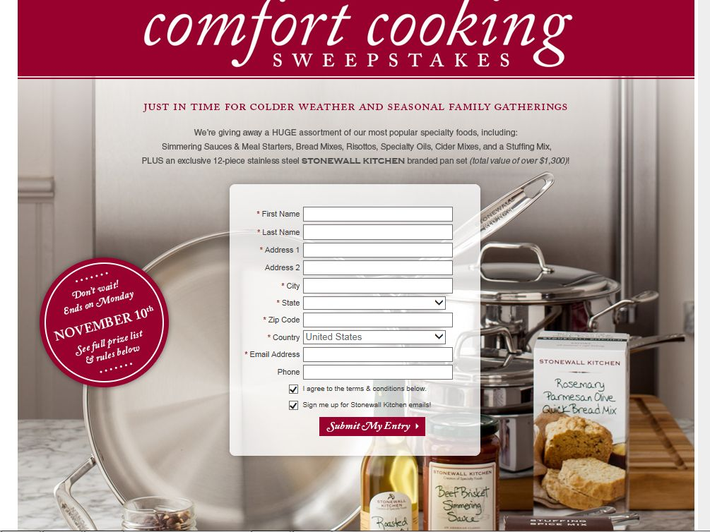 Stonewall Kitchen Comfort Cooking Sweepstakes