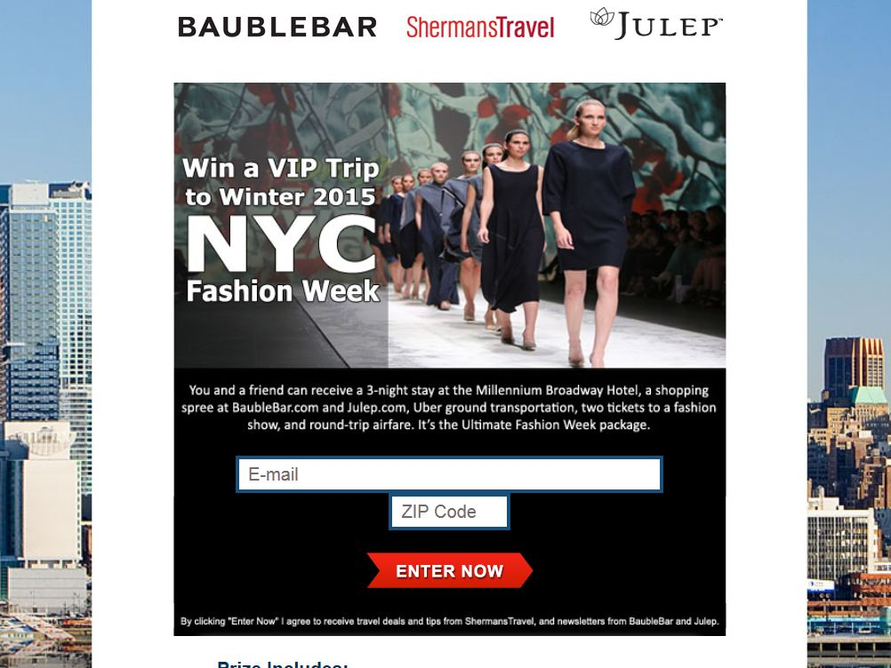 New York Fashion Show: Ultimate Fashion Week Package Sweepstakes