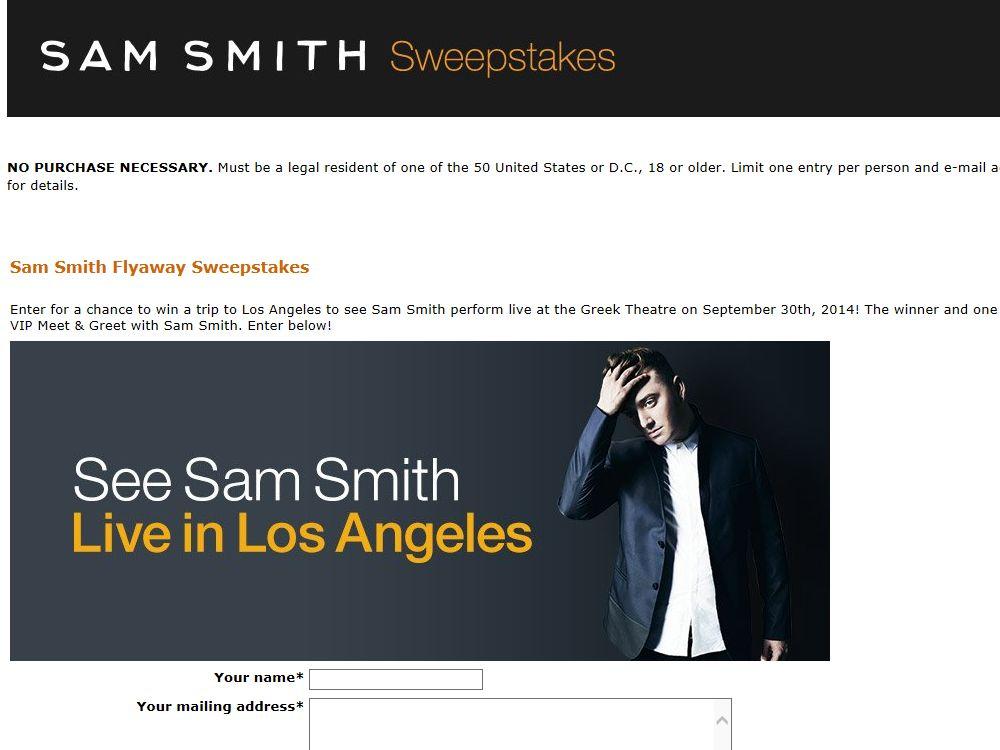 Amazon.com and Sam Smith Flyaway Sweepstakes