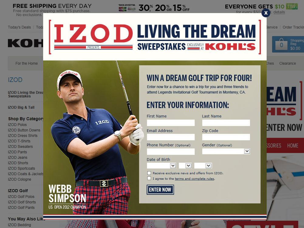 KOHL's & IZOD Living the Dream Sweepstakes