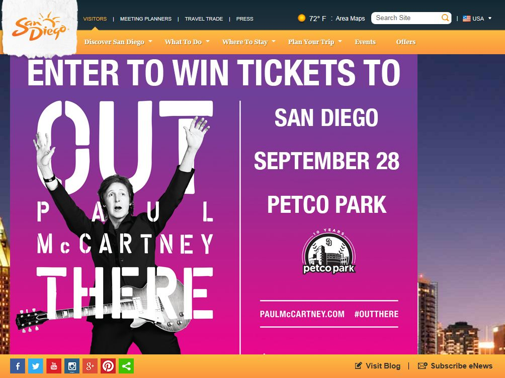 San Diego Paul McCartney Out There Sweepstakes