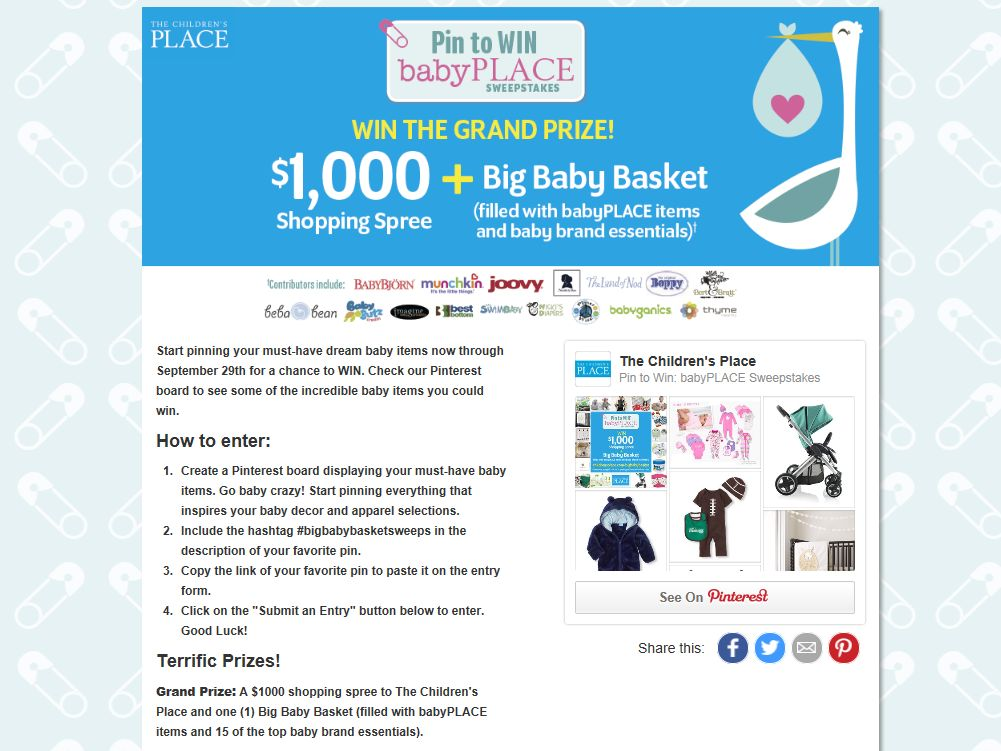 The Children's Place Pin to Win: babyPLACE Sweepstakes