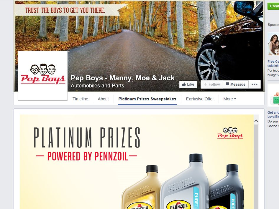 Platinum Prizes Powered by Pennzoil Sweepstakes