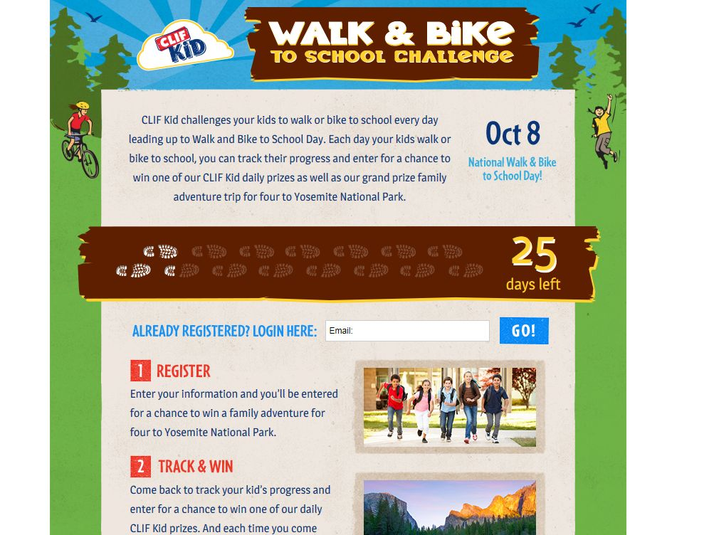 CLIF Kid Walk & Bike to School Challenge Sweepstakes