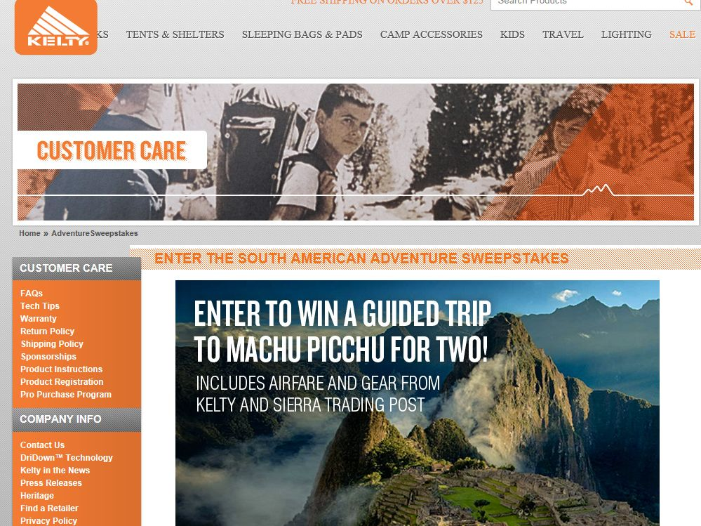 Kelty South American Adventure Sweepstakes