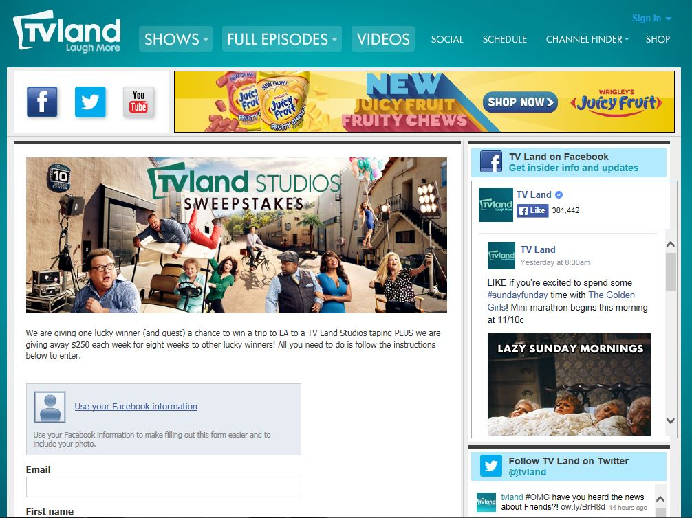 The TV Land Studios Sweepstakes