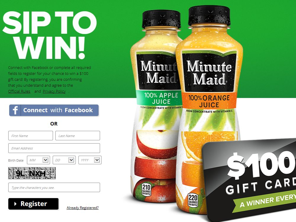 Minute Maid Sip, Text, Win Promotion