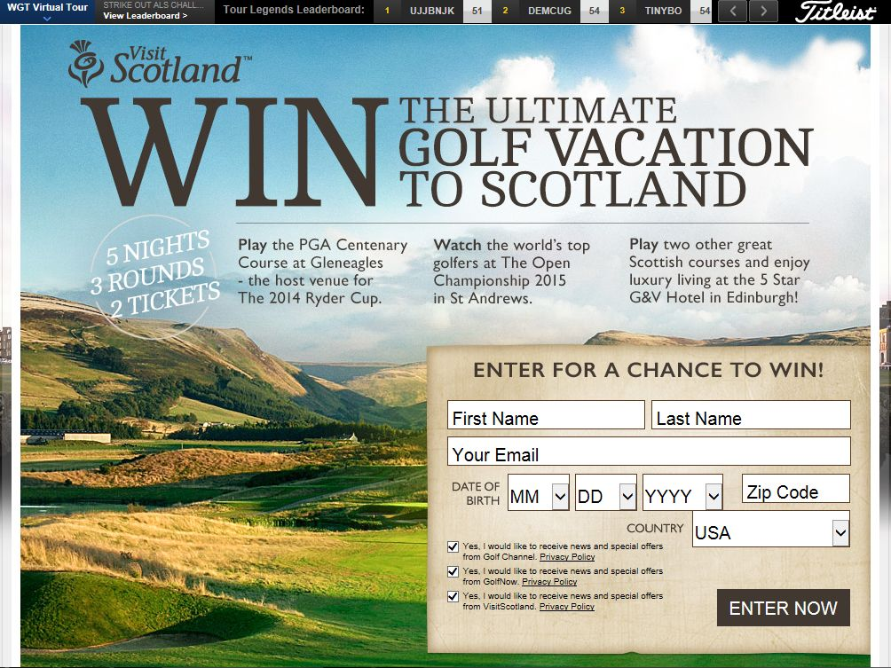 Golf Channel VisitScotland Sweepstakes