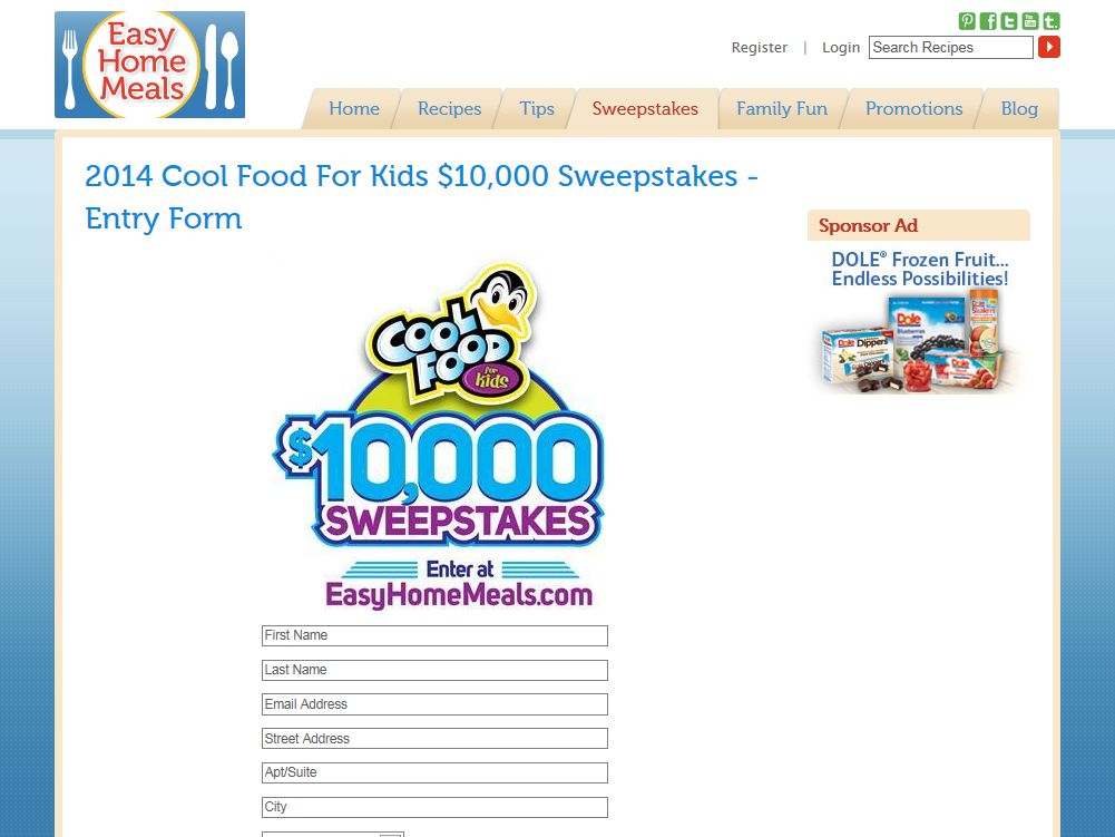 EasyHomeMeals.com Cool Food For Kids $10,000 Sweepstakes