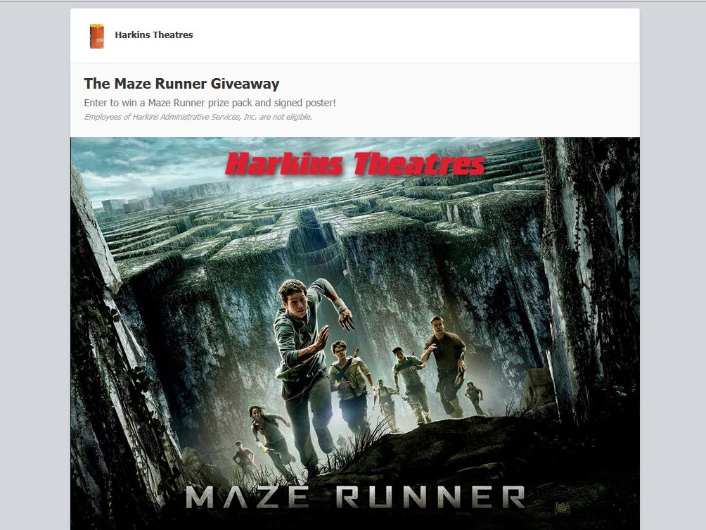 Harkins The Maze Runner Giveaway