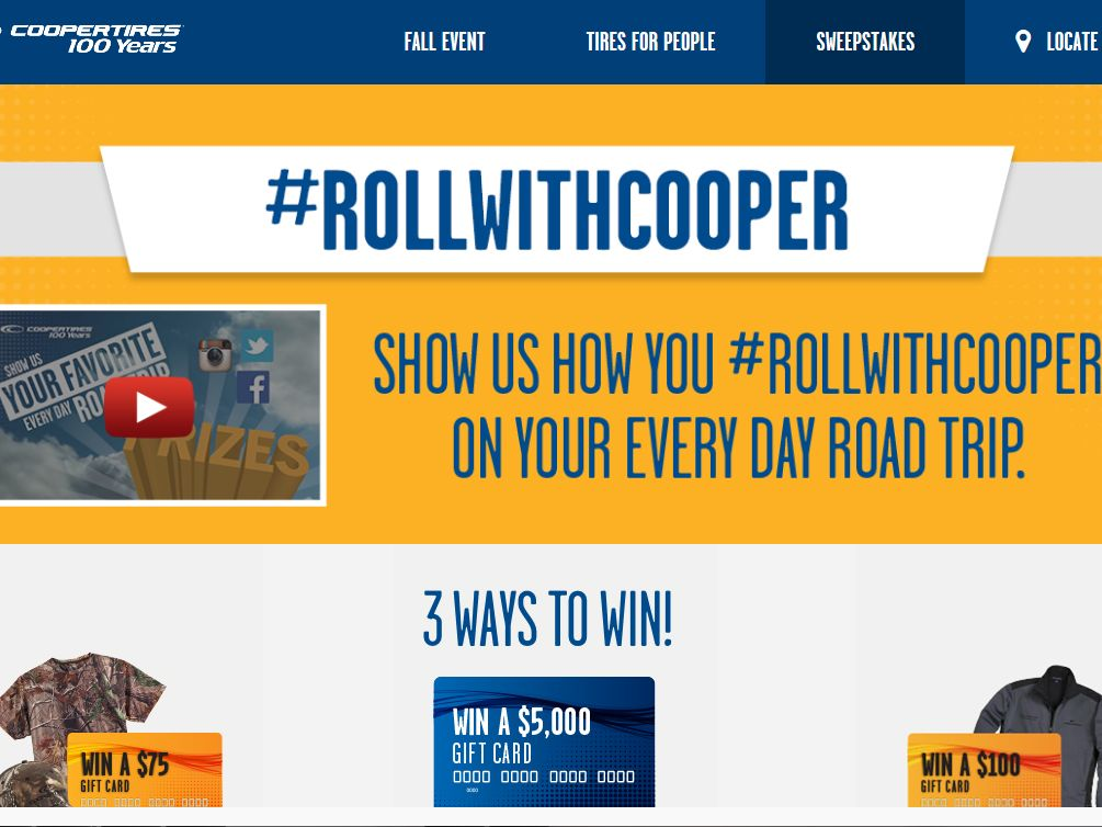 Cooper Tire Roll With Cooper Sweepstakes