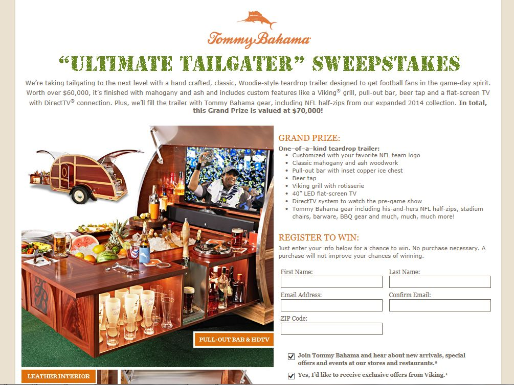 "Tommy Bahama ""Ultimate Tailgater"" Sweepstakes"