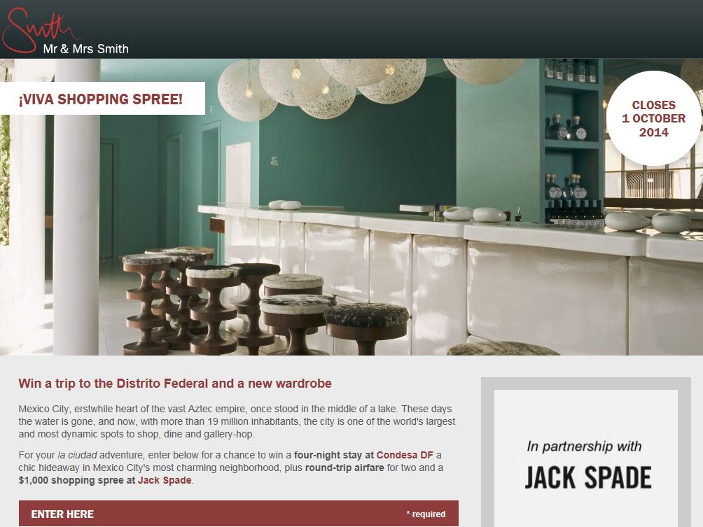 Mr & Mrs Smith – JACK SPADE Mexico City Giveaway