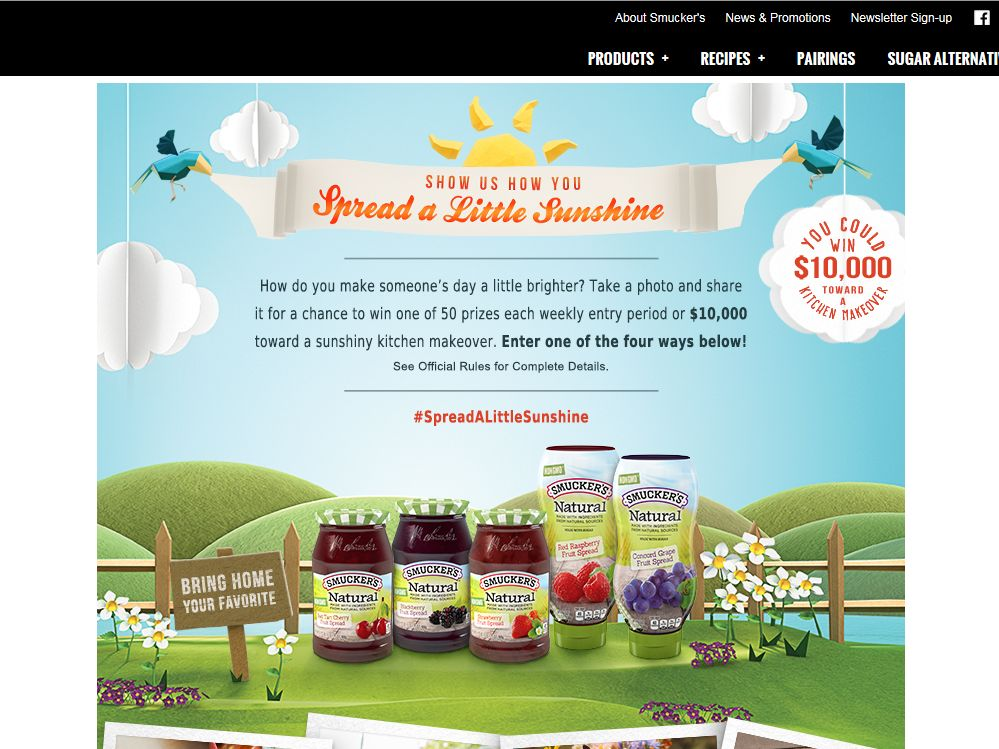 Smucker's Natural Fruit Spreads Spread A Little Sunshine Promotion