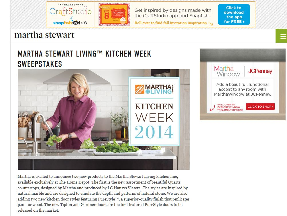 Martha Stewart Living at the Home Depot Kitchen Week Sweepstakes