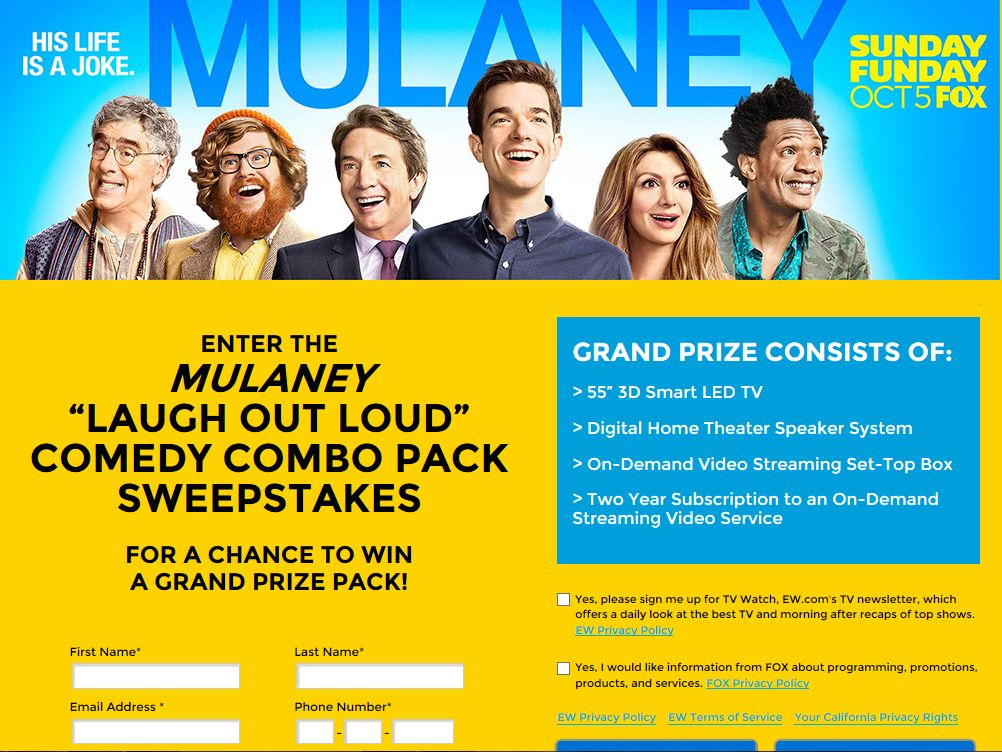 """MULANEY """"Laugh Out Loud"""" Comedy Combo Pack Sweepstakes"""