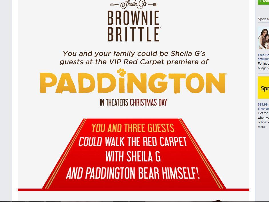 Brownie Brittle Paddington Movie Premiere Sweepstakes