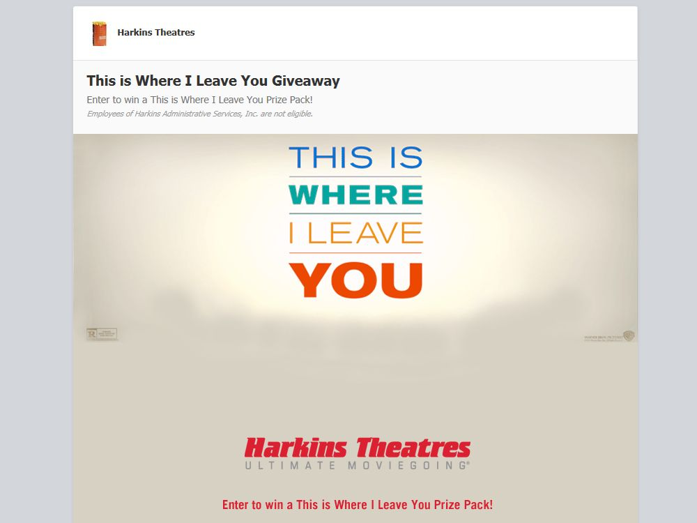 Harkins Theaters This is Where I Leave You Giveaway Sweepstakes