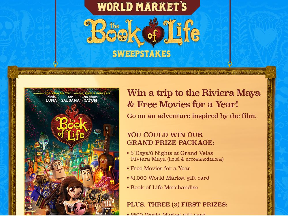 World Market's Book of Life Sweepstakes