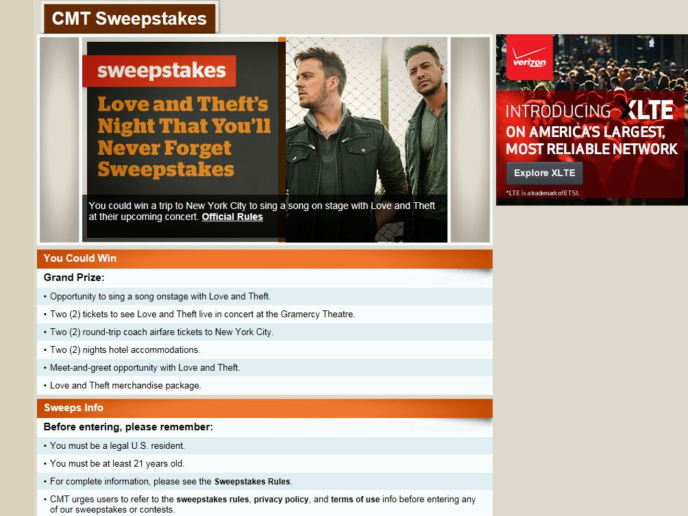 CMT Love and Theft's Night You'll Never Forget Sweepstakes