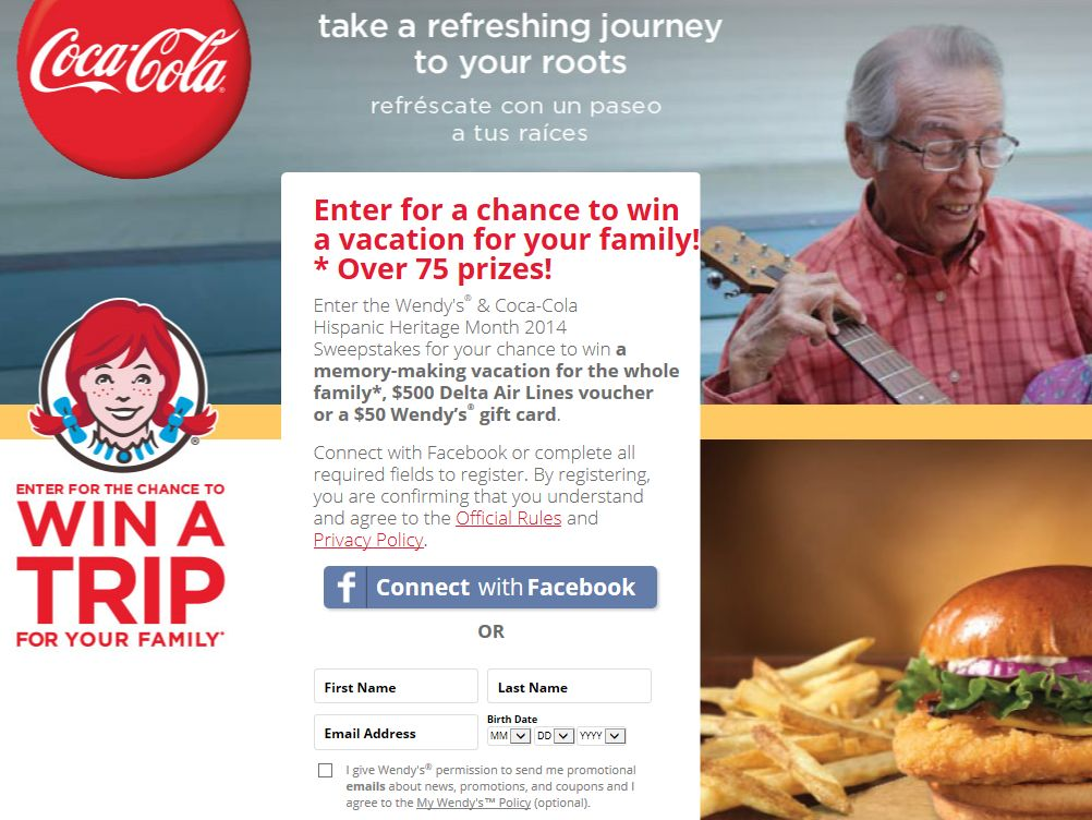 Wendy's & Coca-Cola Hispanic Heritage Month 2014 Express Sweepstakes