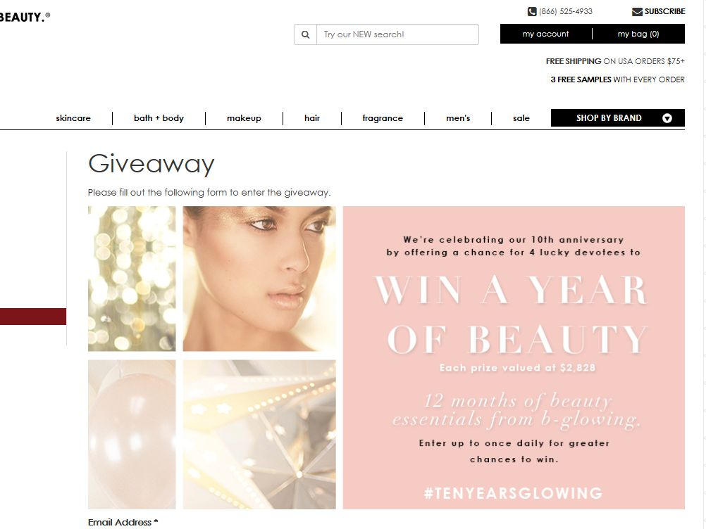 b-glowing WIN A YEAR OF BEAUTY Sweepstakes