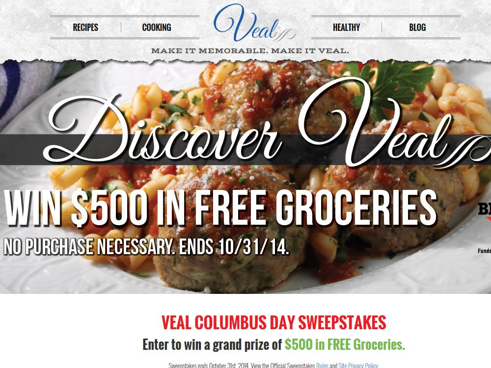 Discover Veal – Win Free Groceries Sweepstakes