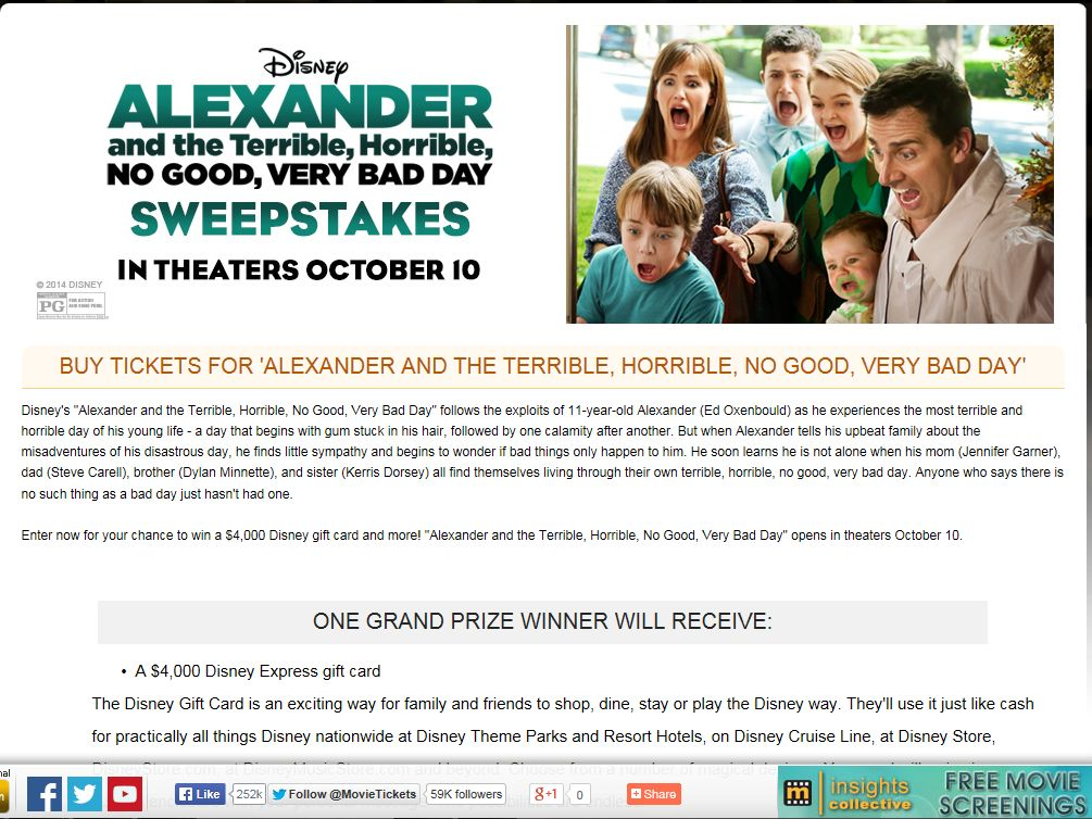 """MovieTickets.com """"Alexander and the Terrible, Awful, No Good, Very Bad Day"""" Sweepstakes"""