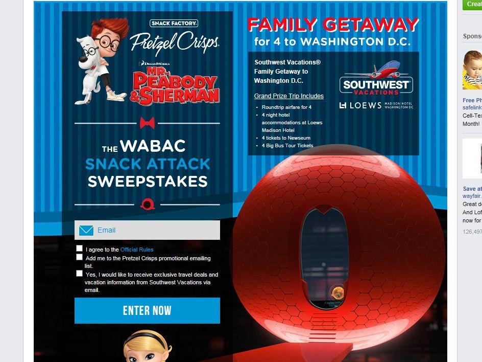 Pretzel Crisps WABAC Snack Attack Sweepstakes