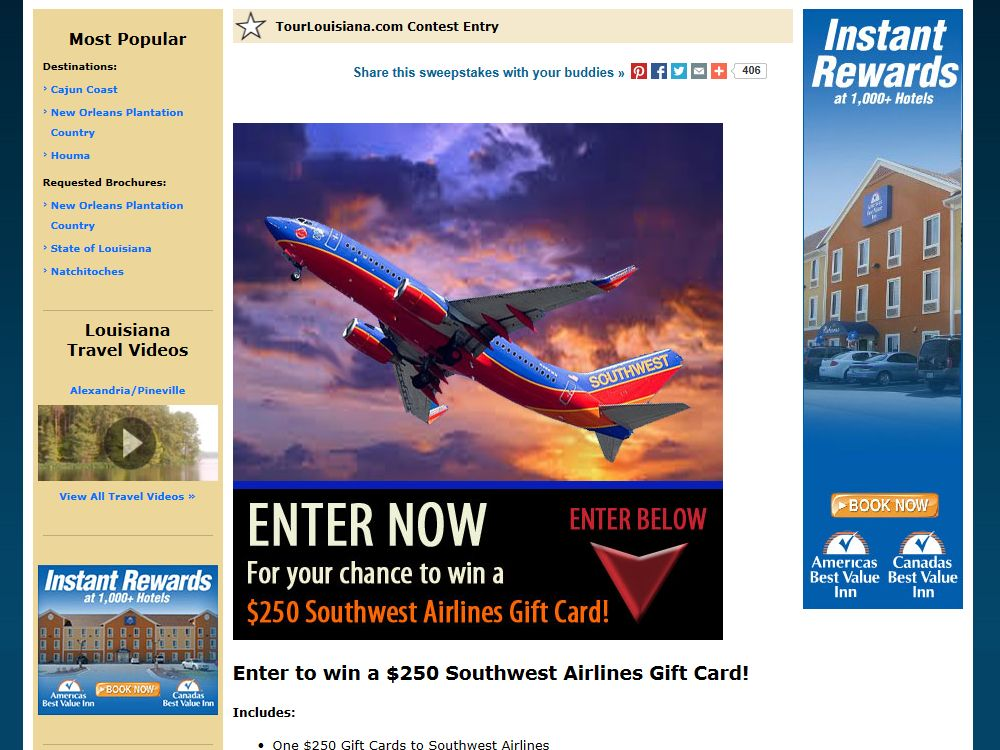 Southwest Airlines Gift Card Sweepstakes