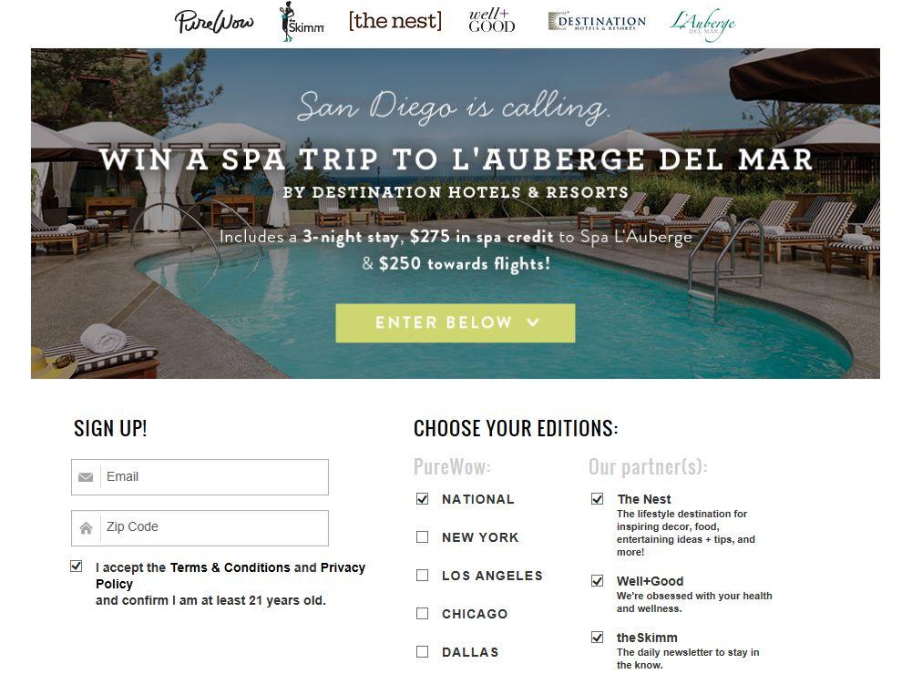 PureWow L'Auberge Del Mar Spa Getaway Sweepstakes