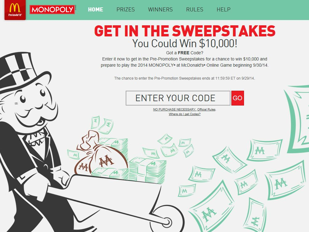 2014 MONOPOLY Game at McDonald's Sweepstakes