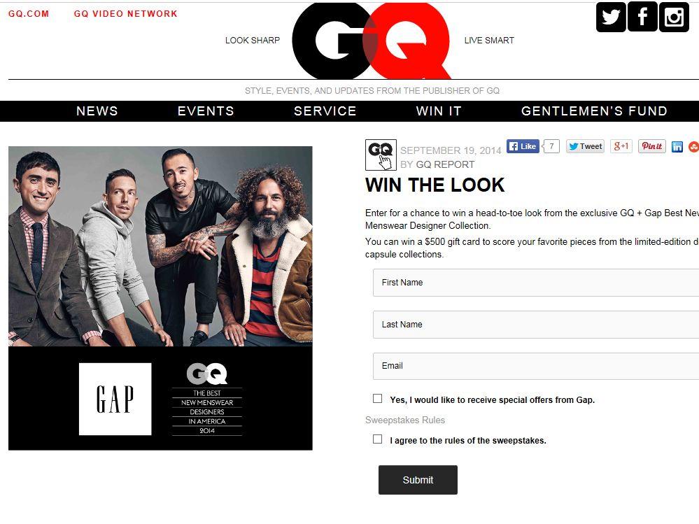 GQ + GAP Best New Menswear Designer Sweepstakes