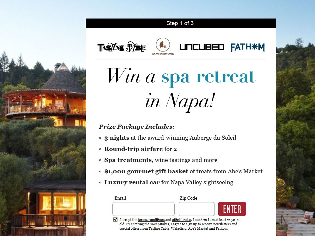Tasting Table's 2014 Napa Spa Retreat Sweepstakes