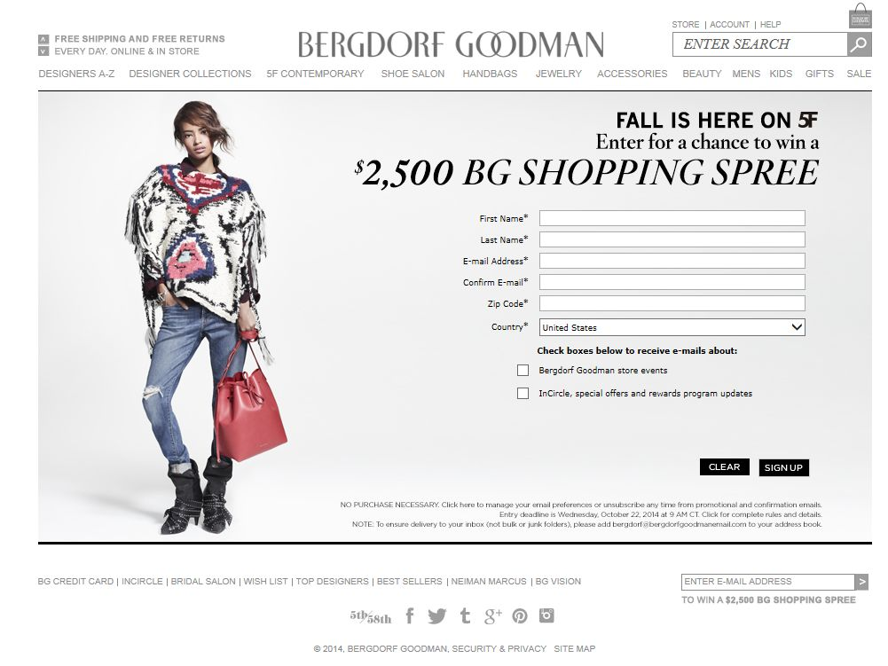 $2,500 Bergdorf Goodman Promotional Gift Card Sweepstakes