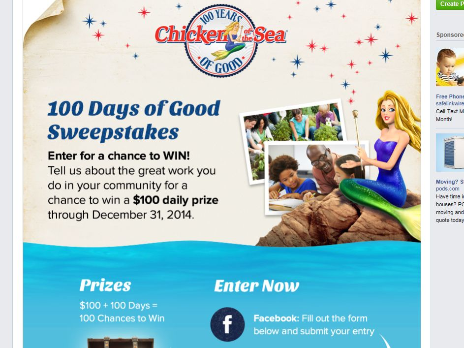 Chicken of the Sea 100 Days of Good Sweepstakes