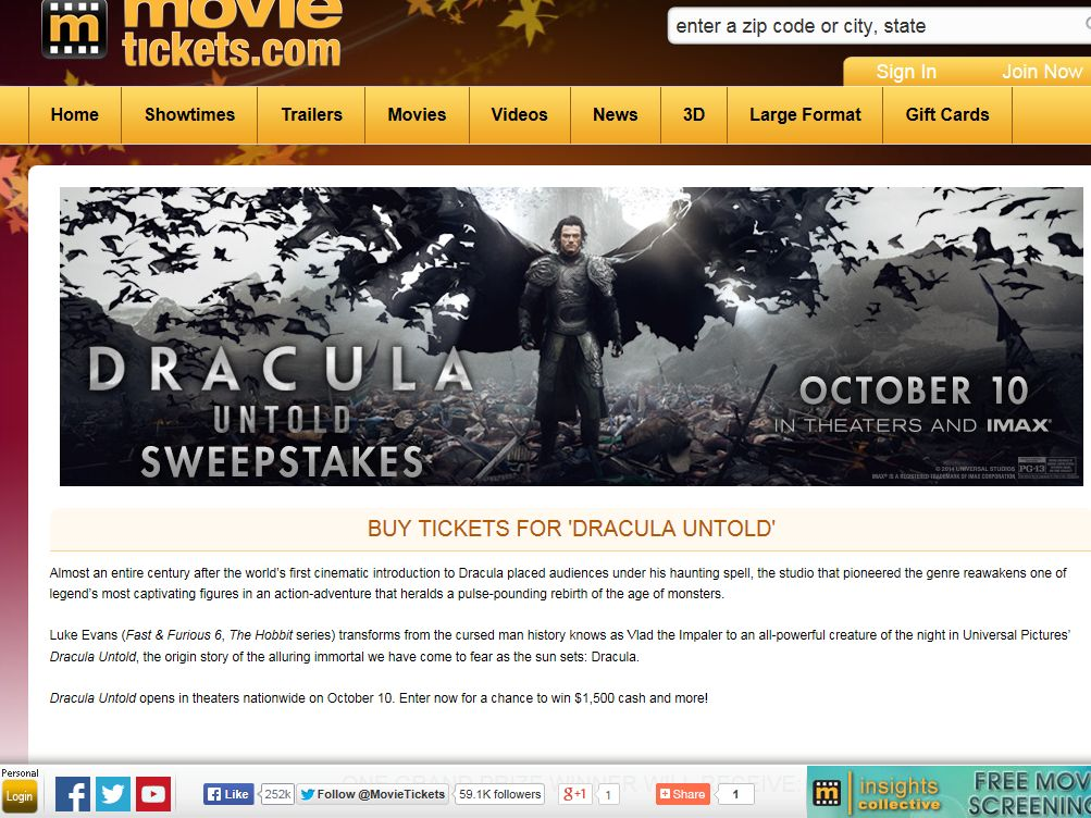 """MovieTickets.com """"Dracula Untold"""" Sweepstakes"""