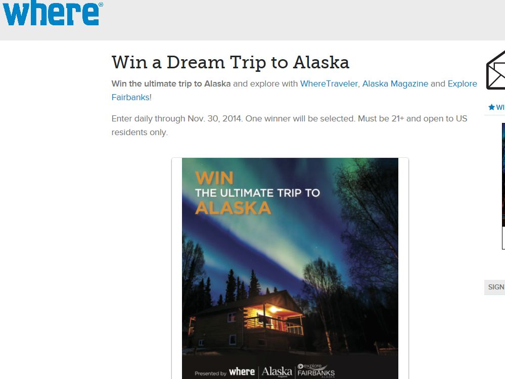 WHERE Traveler Win a Dream Trip to Alaska Sweepstakes