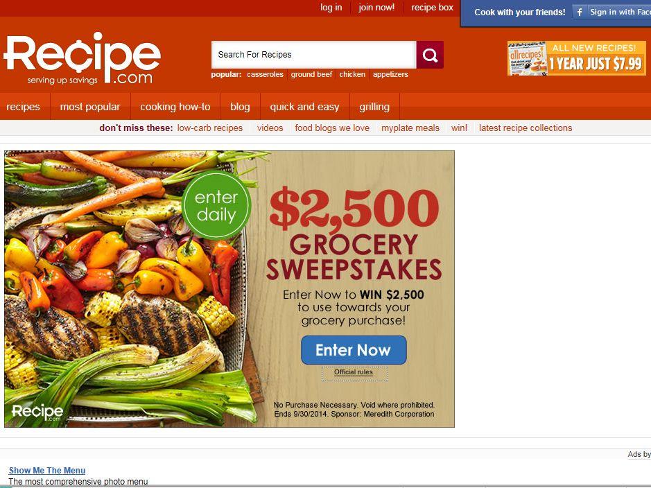 Recipe.com $2,500 Grocery Sweepstakes