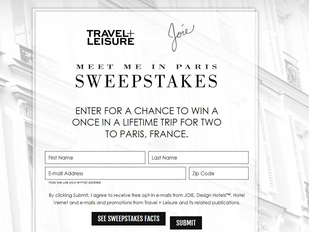 Travel & Leisure Meet Me in Paris Sweepstakes