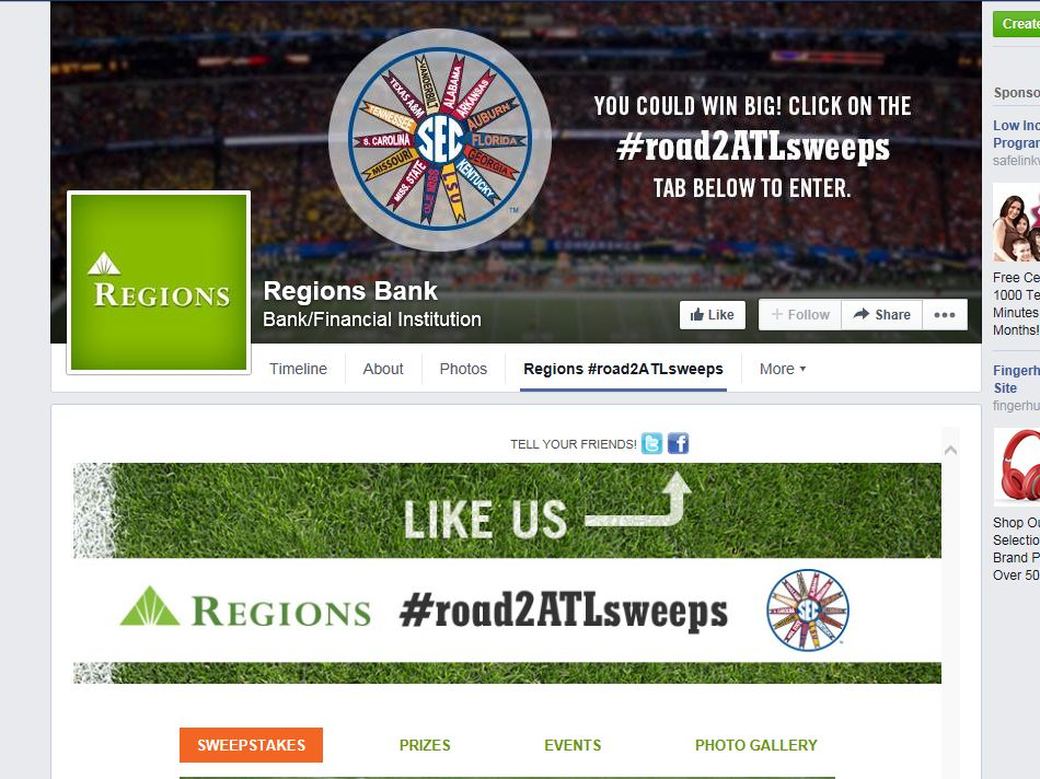 2014 Regions Bank #road2ATLsweeps Sweepstakes