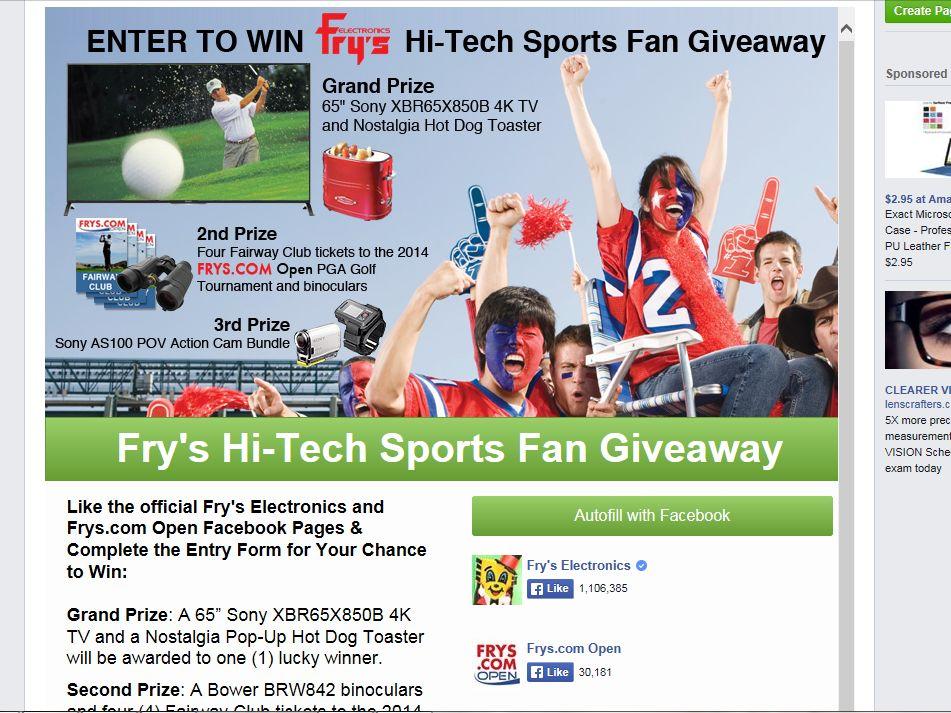 Fry's Electronics, Inc.'s Hi-Tech Sports Fan Giveaway