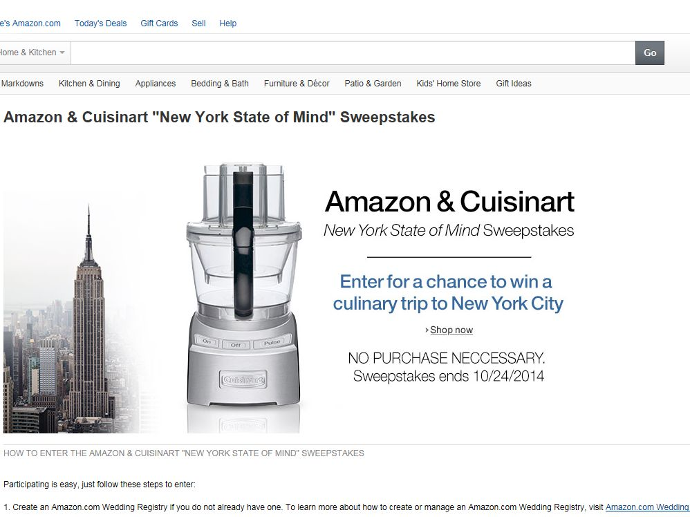 """Amazon & Cuisinart """"New York State of Mind"""" Sweepstakes"""
