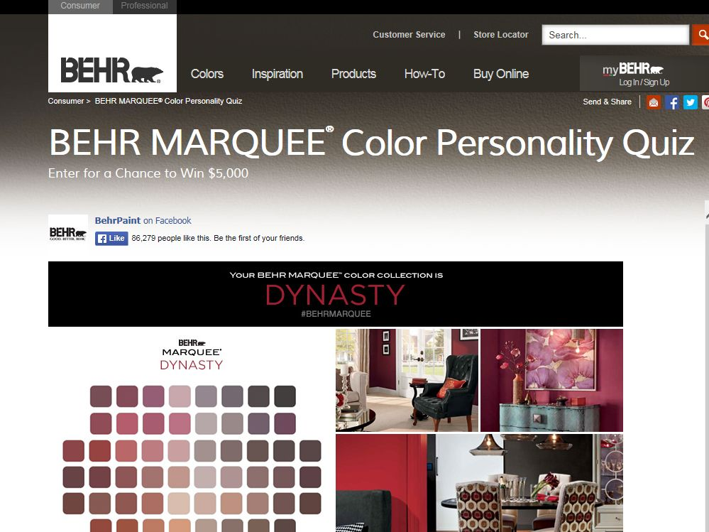 "What's Your BEHR MARQUEE Color Personality?"" Sweepstakes"