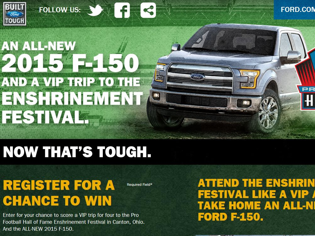Built Ford Tough Pro Football Hall of Fame Sweepstakes