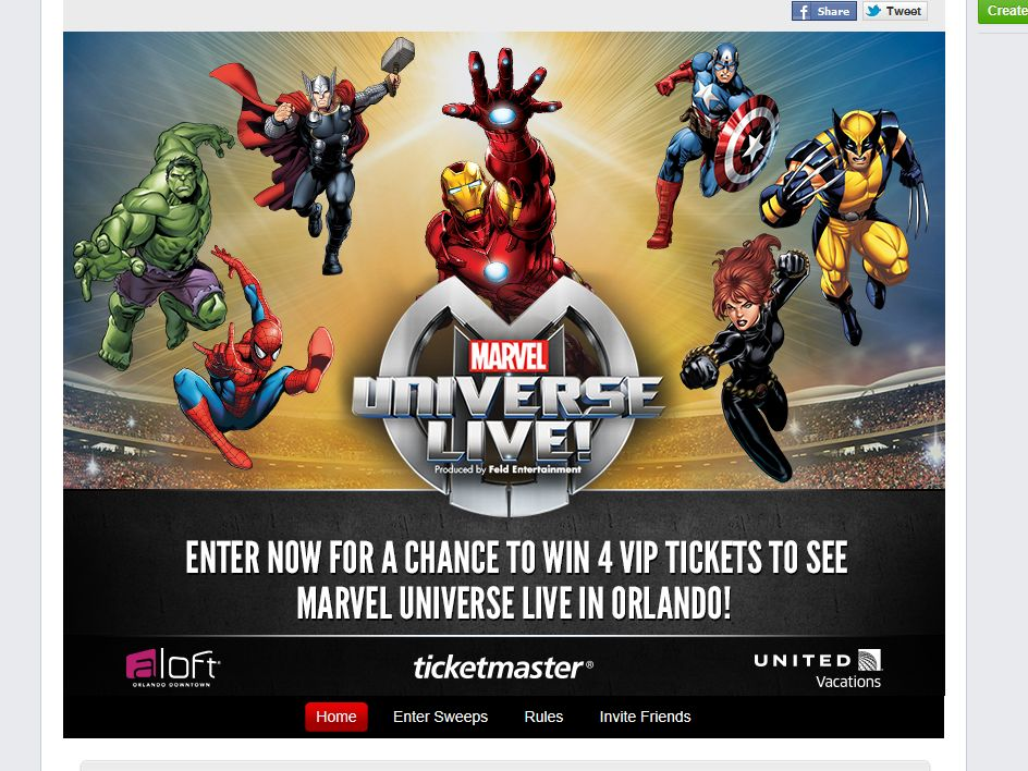 Ticketmaster Marvel Universe Live! Sweepstakes